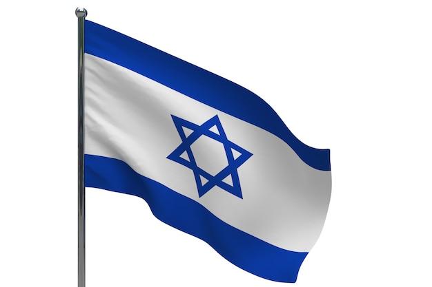Bandeira de israel na pole. mastro de metal. ilustração 3d da bandeira nacional de israel em branco