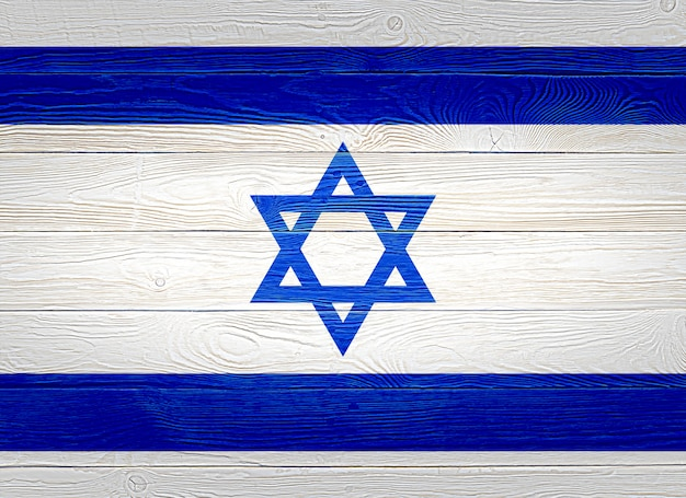 Bandeira de israel pintada em pranchas de madeira