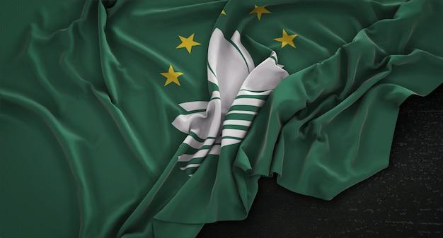 Bandeira de macau enrugada no fundo escuro 3d render