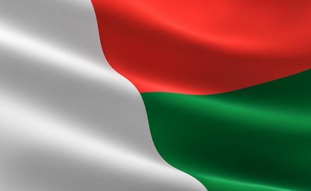 Bandeira de madagascar. ilustração da bandeira de madagascar acenando.