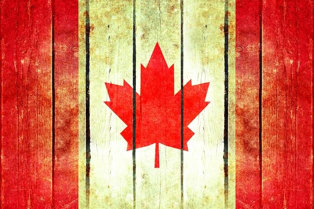 Bandeira de madeira do grunge do canadá.