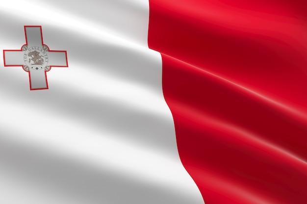 Bandeira de malta. ilustração 3d da bandeira maltesa acenando