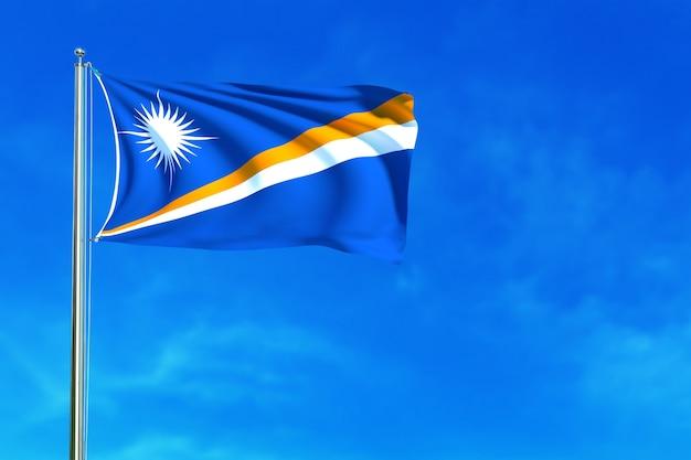 Bandeira de marshall na rendição 3d do fundo do céu azul