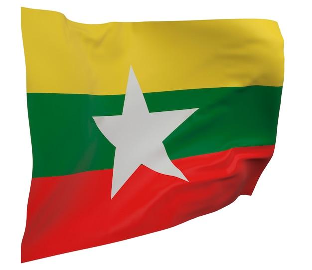 Bandeira de mianmar isolada. bandeira ondulante. bandeira nacional de mianmar