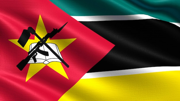 Bandeira de moçambique, com textura de tecido a acenar