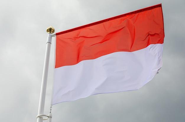 Bandeira de mônaco balançando ao vento