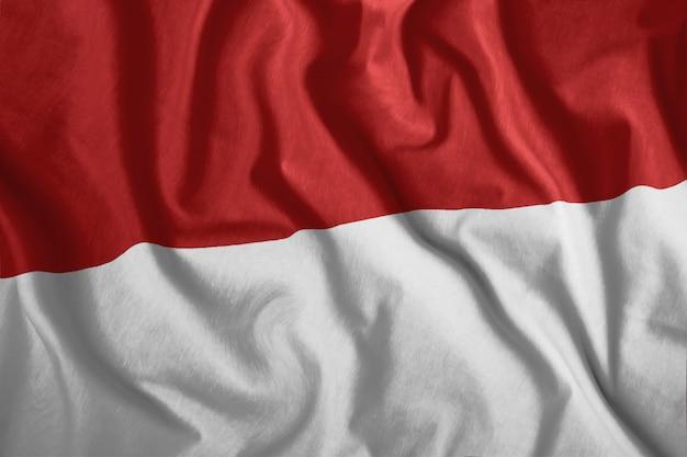 Bandeira de mônaco tremulando