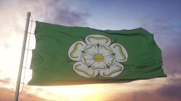Bandeira de north yorkshire, inglaterra, balançando ao vento, o céu e o sol de fundo. renderização 3d