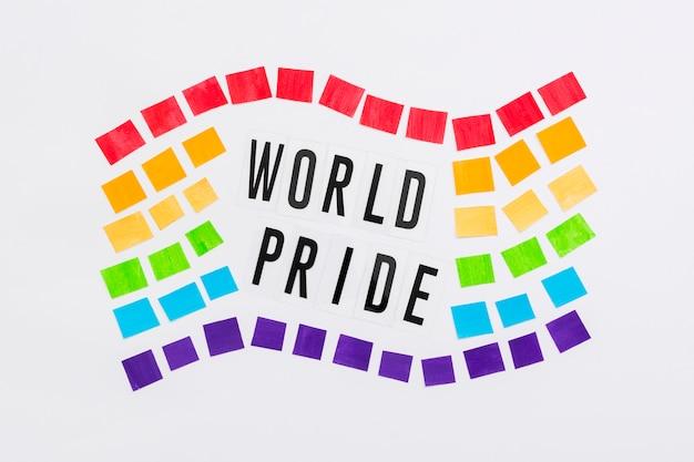 Bandeira de notas do mundo feliz dia do orgulho