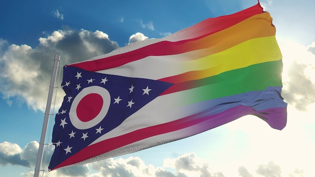 Bandeira de ohio e lgbt. ohio e lgbt bandeira mista balançando ao vento. renderização 3d