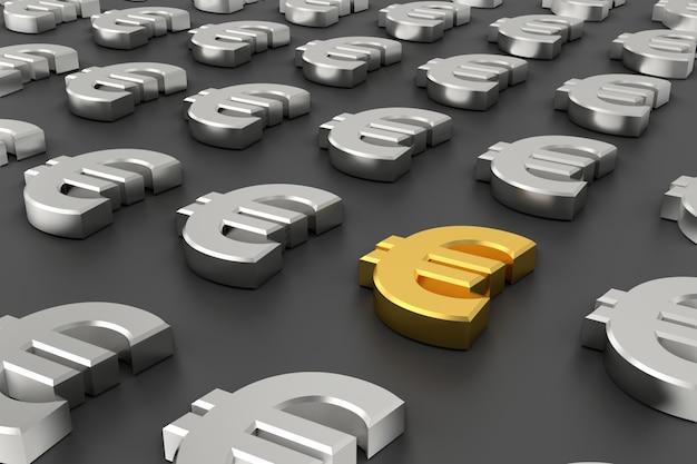Bandeira de ouro sinal de euro. renderização em 3d.
