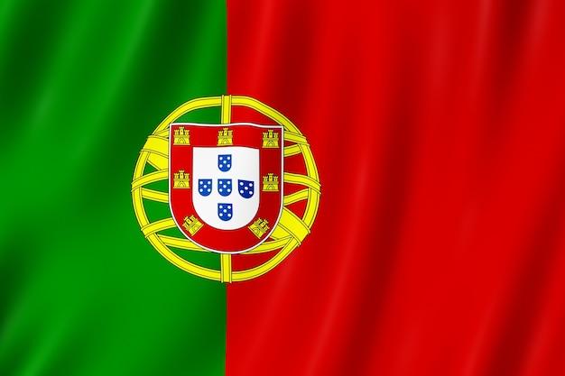 Bandeira de portugal balançando ao vento.