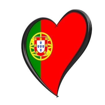 Bandeira de portugal dentro do coração. festival eurovisão da canção 2018 em portugal sobre um fundo branco. renderização 3d