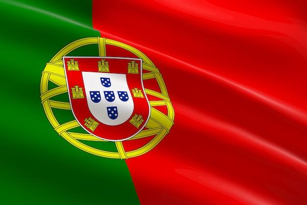 Bandeira de portugal. ilustração 3d da bandeira portuguesa acenando