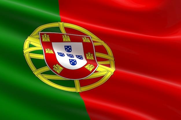 Bandeira de portugal. ilustração 3d da bandeira portuguesa acenando.