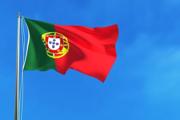 Bandeira de portugal no fundo do céu azul