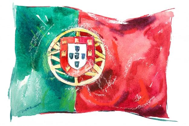Bandeira de portugal pintada em aquarelas