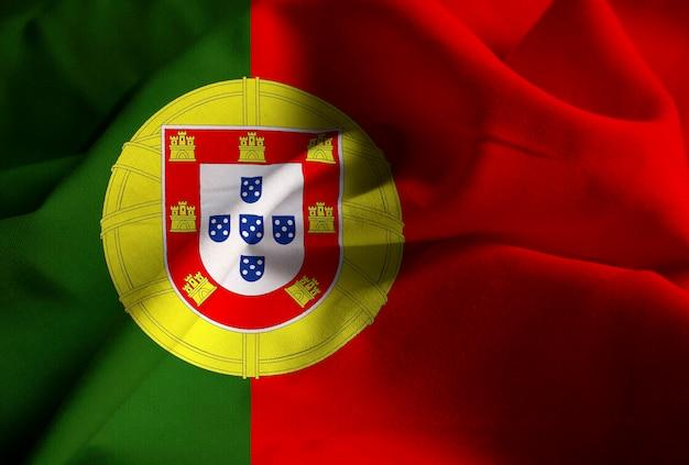 Bandeira de portugal soprando no vento