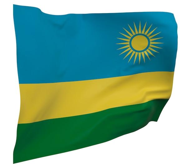 Bandeira de ruanda isolada. bandeira ondulante. bandeira nacional de ruanda