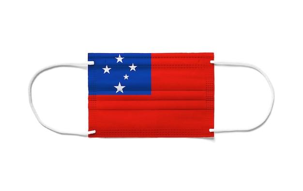 Bandeira de samoa com máscara cirúrgica descartável.