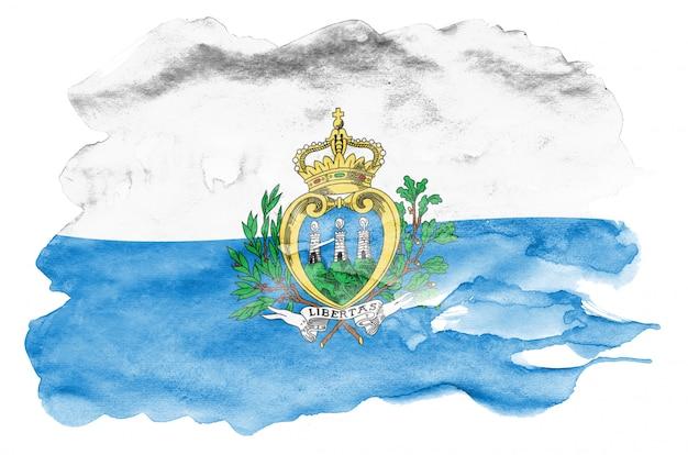 Bandeira de san marino é retratada em estilo aquarela líquido isolado no branco