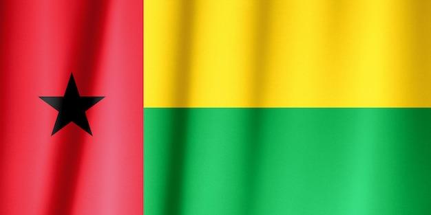 Bandeira de seda da guiné-bissau. bandeira de guiné-bissau de tecido de seda.
