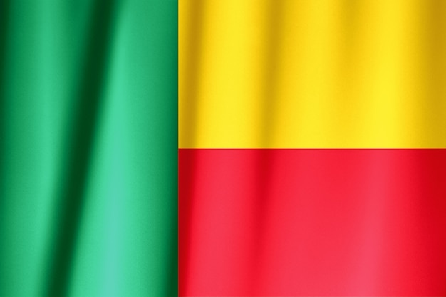 Bandeira de seda do benin. bandeira de benin de tecido de seda.