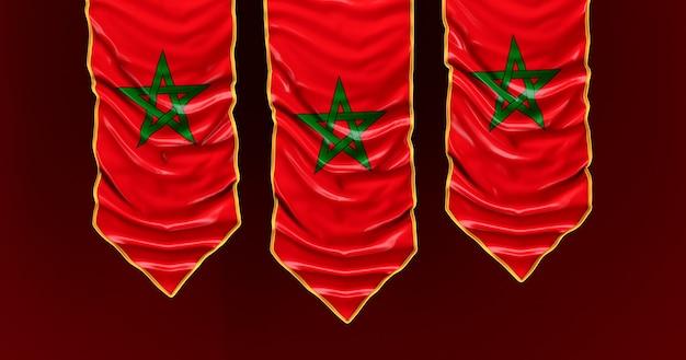 Bandeira de seda do marrocos. bandeira de tecido de marrocos.