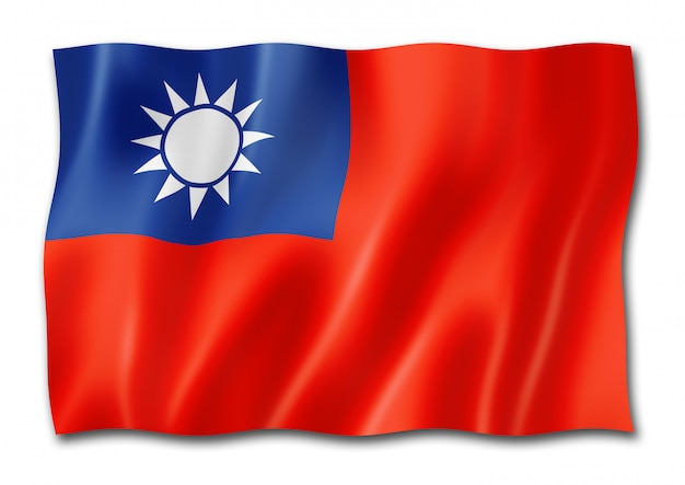 Bandeira de taiwan isolada no branco