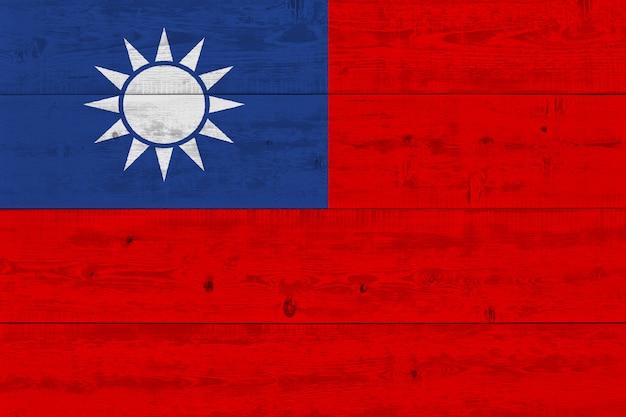 Bandeira de taiwan, pintada na prancha de madeira velha