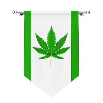 Bandeira de tecido com maconha medicinal ou sinal de folha de cânhamo de cannabis em um fundo branco. renderização 3d