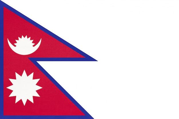 Bandeira de tecido nacional do nepal, fundo de têxteis. símbolo do país asiático do mundo internacional.