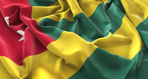 Bandeira de togo ruffled beautifully waving macro close-up shot
