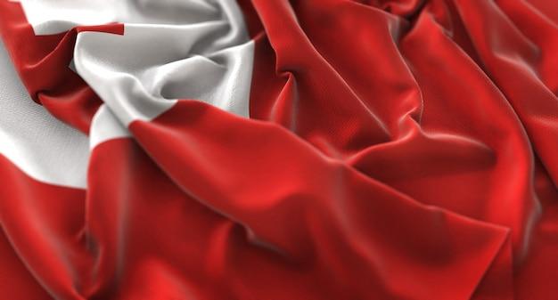 Bandeira de tonga ruffled beautifully waving macro close-up shot