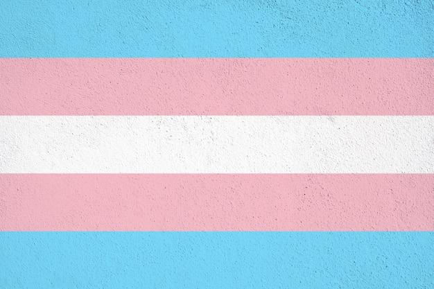 Bandeira de transgênero pintada no muro de concreto no exterior. fundo grunge transgênero