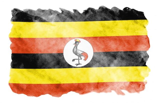 Bandeira de uganda é retratada em estilo aquarela líquido isolado no branco
