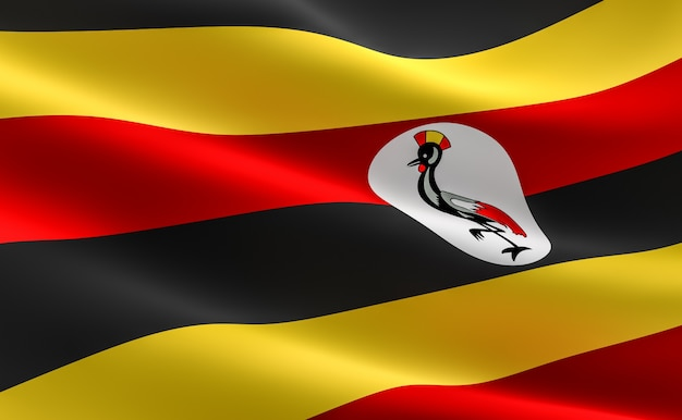 Bandeira de uganda. ilustração da bandeira ugandesa acenando.