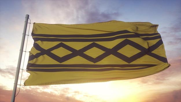Bandeira de west midland, inglaterra, balançando ao vento, o céu e o sol de fundo. renderização 3d