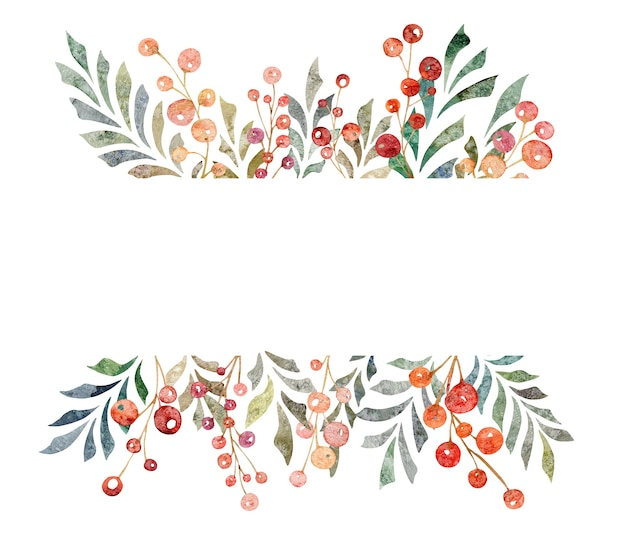 Bandeira desenhada à mão em aquarela de folhas ramos bagas vermelhas isoladas no fundo branco