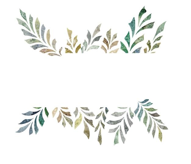 Bandeira desenhada à mão em aquarela de ramos de folhas isoladas em ilustração floral de fundo branco