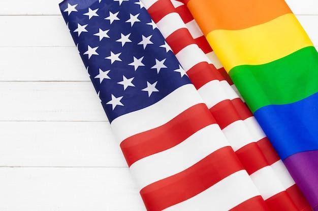 Bandeira do arco-íris lgbt e bandeira americana. orgulho gay