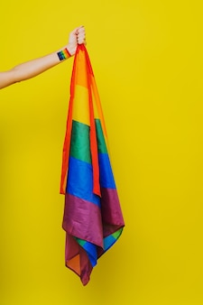 Bandeira do arco-íris lgbt, suporte conceitual para gays, lésbicas, transgêneros e contra a homofobia