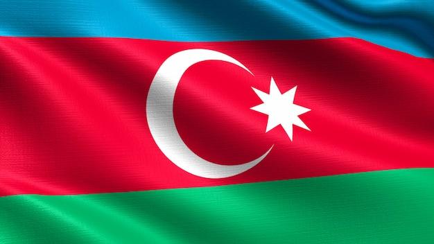 Bandeira do azerbaijão, com textura de tecido a acenar