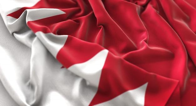 Bandeira do bahrain ruffled beautifully waving macro close-up shot