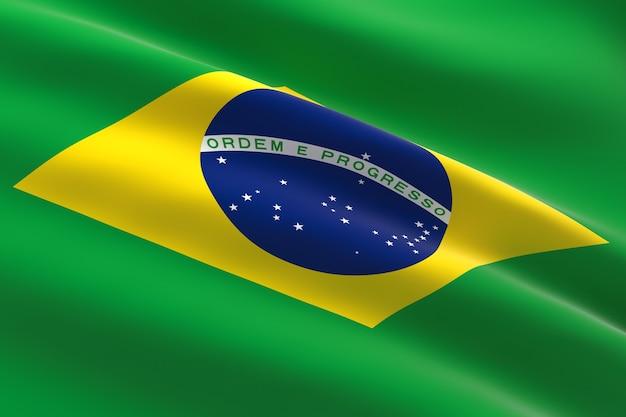 Bandeira do brasil. ilustração 3d da bandeira brasileira acenando