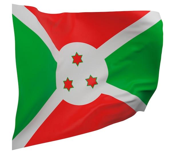 Bandeira do burundi isolada. bandeira ondulante. bandeira nacional do burundi