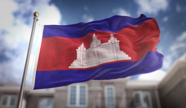 Bandeira do camboja 3d rendering no fundo do edifício do céu azul