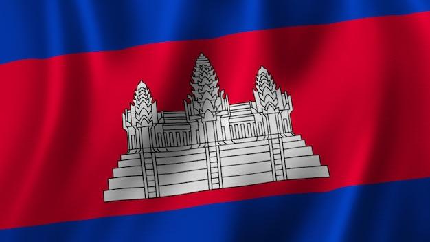 Bandeira do camboja acenando em close renderização em 3d com imagem de alta qualidade com textura de tecido