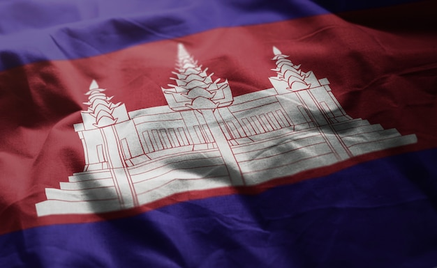 Bandeira do camboja amarrotada close up