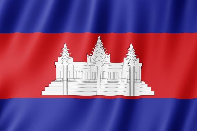 Bandeira do camboja balançando ao vento.